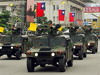 Taiwanese military military vehicles and armoured parade past guests during the R.O.C., Republic of China, National Day celebrations in Taipei, Taiwan, Wednesday, Oct. 10, 2007. Fighter jets streaked across overcast skies Wednesday as Taiwan held a National Day military parade for the first time since it halted such displays of war-fighting prowess in 1991 to ease tensions with rival China.