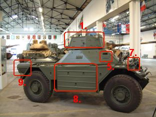 Ferret Mk1 light wheeled armoured vehicle British army United Kingdom technical data sheet description pictures specification identification photos images véhicule blindé léger à roues fiche technique armée britannique anglaise Royaume Unis Angleterre