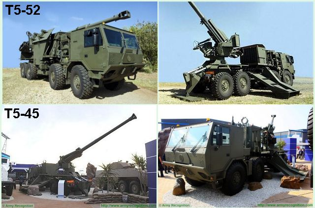 T5-52 T5-45 155mm wheeled self-propelled howitzer technical data sheet specifications pictures video description information intelligence photos images identification Denel Land Systems South Africa African army defence industry military technology