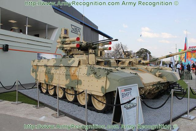 Russia presents several full-scale weapon systems together for the first time at the international arms exhibition Africa Aerospace and Defence 2012 (19-23 September 2012, the Republic of South Africa). The BMPT tank support combat vehicle and the upgraded T-72 main battle tank are the main products shown at the Africa Aerospace and Defence Exhibition.