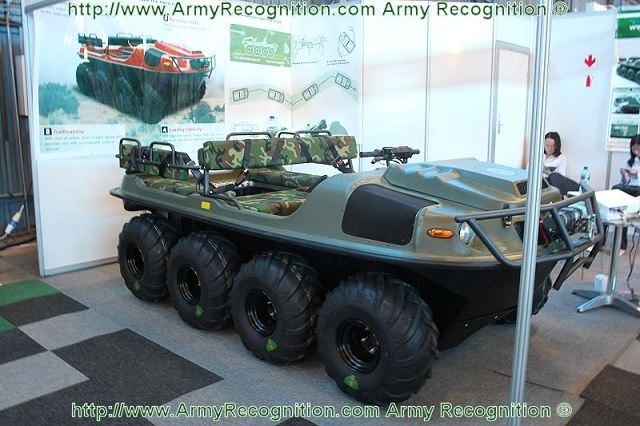 Large presence of the Chinese defence industry at AAD 2012 Africa Aerospace and Defence Exhibition which shows its latest technological innovations for military use. The Chinese Company Yiwu Xibeihu Special Vehicle presents its new amphibious light all-terrain vehicle, the Xibeihu 8x8 ATV (All-Terrain Vehicle).