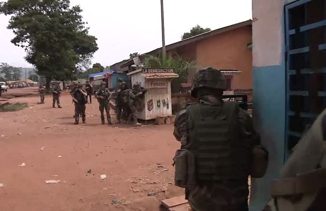 French soldiers from the Sangaris operation in Central African Republic are deployed with the FOMAC (Central African Multinational Force) forces in the city of Bangui to restore the security and protect the population. Today, only military and police forces can move in the city.