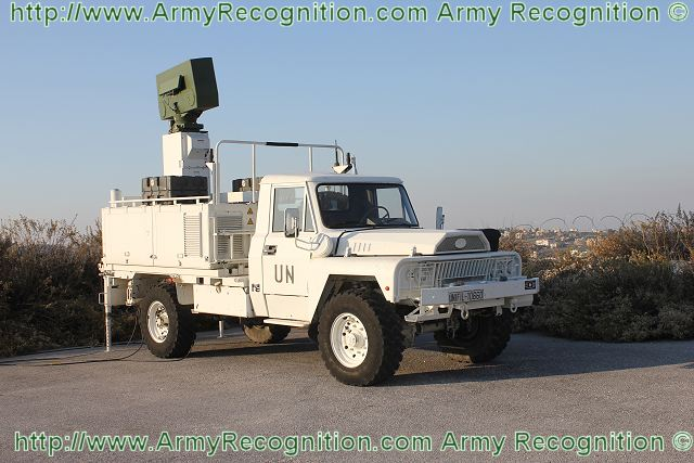 The Samantha is the radar detection unit for the Mistral short range air defence missile system. The radar is mounted at the rear of the light truck VLRA ACMAT.