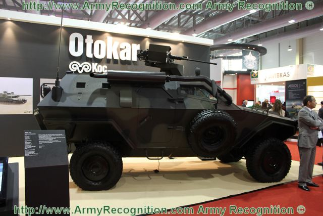 COBRA 4x4 armoured vehicle is displayed with remote controlled weapon station at BRIDEX 2011. The COBRA provides superior mobility, a high level of protection, adaptability to various missions and a low logistic footprint.