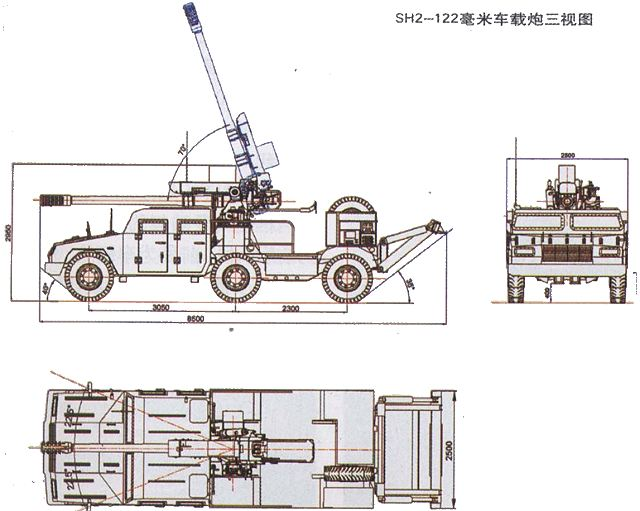 SH2 wheeled self-propelled howitzer 122mm technical data sheet specifications information description intelligence pictures photos images PLA China Chinese army identification defense industry military technology