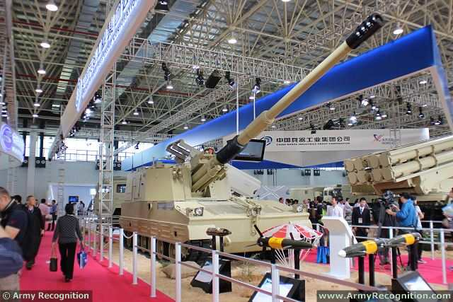 PLZ52 155mm self-propelled howitzer at AirShow China 2014 in Zhuhai, China.