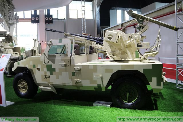 The Chinese Defense Company NORINCO launches the CS/AA6 at Zhuhai AirShow China 2016, a new gun/MANPADS (Man-portable air-defense system) short-range air defense light vehicle. The CS/AAS6 is based on a 4x4 light tactical vehicle Dong Feng Warrior.
