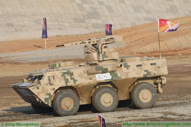 VN2C 6x6 armoured personnel carrier at Zhuhai AirShow China 2016 ground mobility demonstration