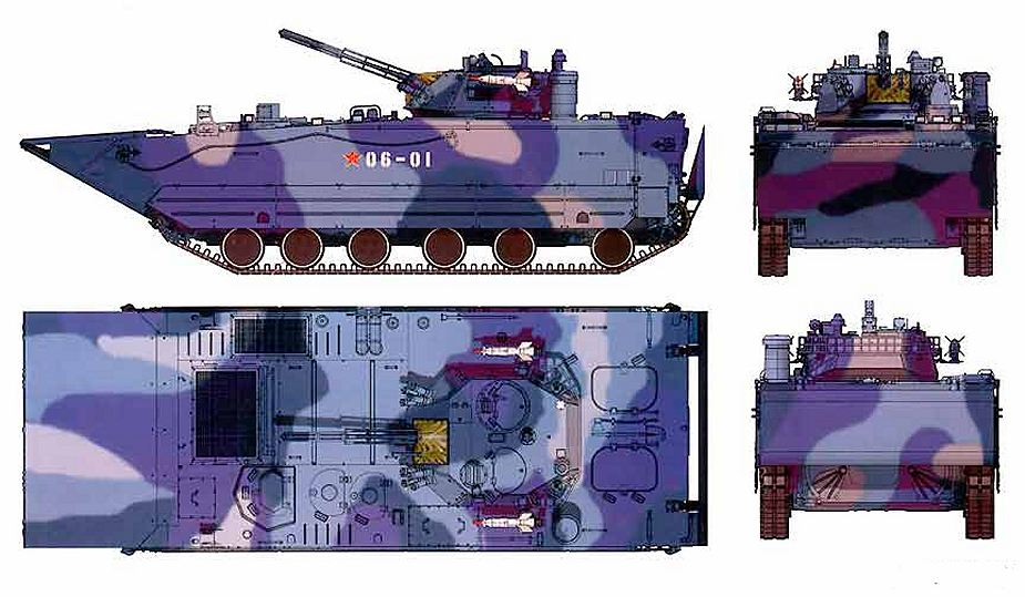 ZBD 05 VN 18 amphibious tracked armoured infantry fighting combat vehicle China Chinese Army line drawing blueprint 001
