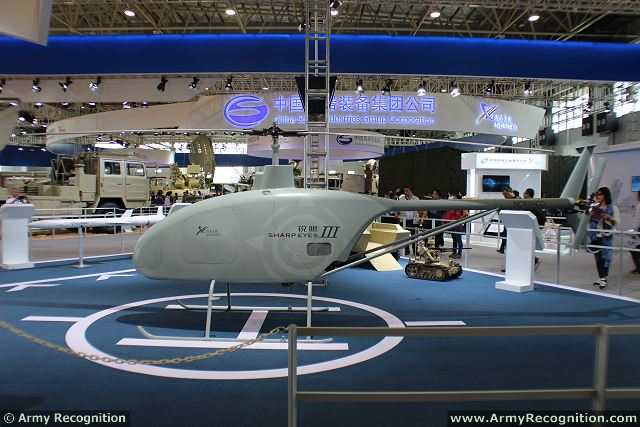 At the China International Aviation & Aerospace Exhibition 2014 (AirShow China), Chinese Defense Company NORINCO (China North Industries Corporation) has unveiled a new unmanned helicopter, the Sharp Eye III. This unmanned rotary aircraft is especially designed to be used as a multi-task UAV (Unmanned Aerial Vehicle) for military applications.