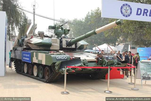 The Defence Research & Development Organisation (DRDO) of India unveils the latest generation of its local-made main battle tank, Arjun MK II at Defexpo 2014, defense exhibition in New Delhi, India. The state-of-the-art ARJUN Main Battle Tank Mk II has been designed and developed by DRDO by incorporating numerous improvements over and above the ARJUN MBT Mk I which is already in service with the Indian Army.
