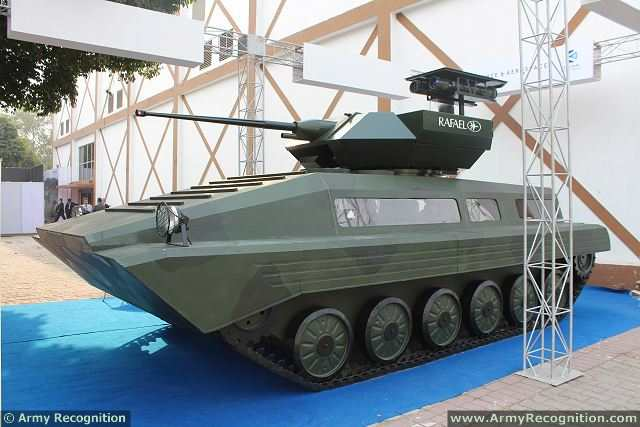 The Indian Defense Company Kalyani Group presents at Defexpo 2014, defense exhibition in India, a solution to upgrade the Russian-made BMP-2 infantry fighting vehicle with new armour and fire power. The upgraded BMP-2 of Kalyani features front, side, skirt and rear passive and reactive armor and one Israeli-made Rafael Samson Mk II mounted on the top of the vehicle.