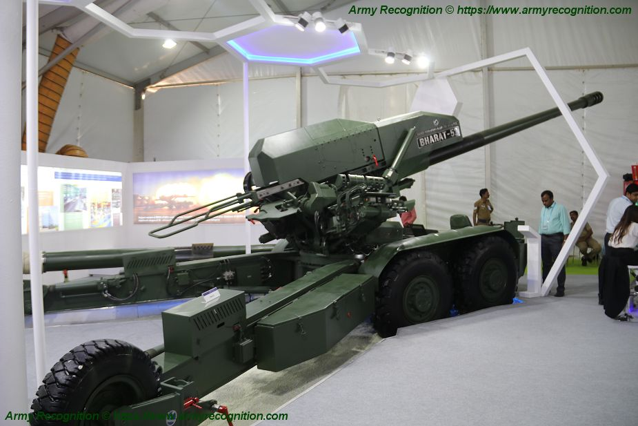 Image result for pics of bharat forge 155mm gun at defexpo 2020