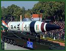India displayed its military strength on Saturday, January 26, 2013, while holding the 64th Republic Day parade in the capital, showing its new Agni-V intercontinental missile which is capable of striking targets some 6,000 km away. The highlight of the 100-minute parade was the nuclear-capable Agni-V ballistic missile, developed by the Defense Research and Development Organization.
