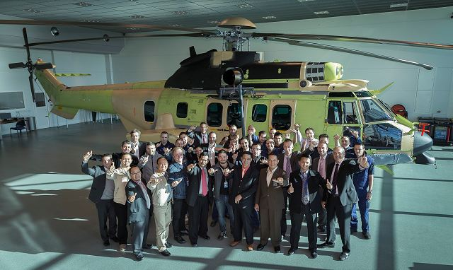 Airbus Helicopters has handed over the first of six EC725 rotorcraft acquired by Indonesia for combat search and rescue (CSAR) missions. Present at Airbus Helicopters' Marignane, France facility to accept the aircraft included members of the Indonesian Ministry of Defence, the Indonesian Air Force, as well as PT Dirgantara Indonesia (PTDI).