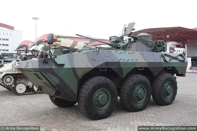 At IndoDefence 2014, Pindad presents a new version of its ANOA-2 6x6 armoured vehicle personnel carrier fitted with a Denel's LCT20 turret armed with a 20mm cannon. PT. PINDAD is an Indonesian government owned manufacturing industry specializing in military and commercial products.