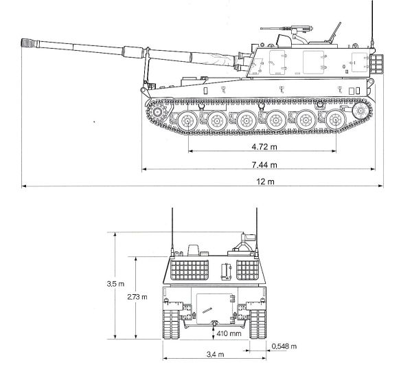 K9 Thunder self propelled howitzer 155 MM South Korea South Korean Army line drawing blueprint 001