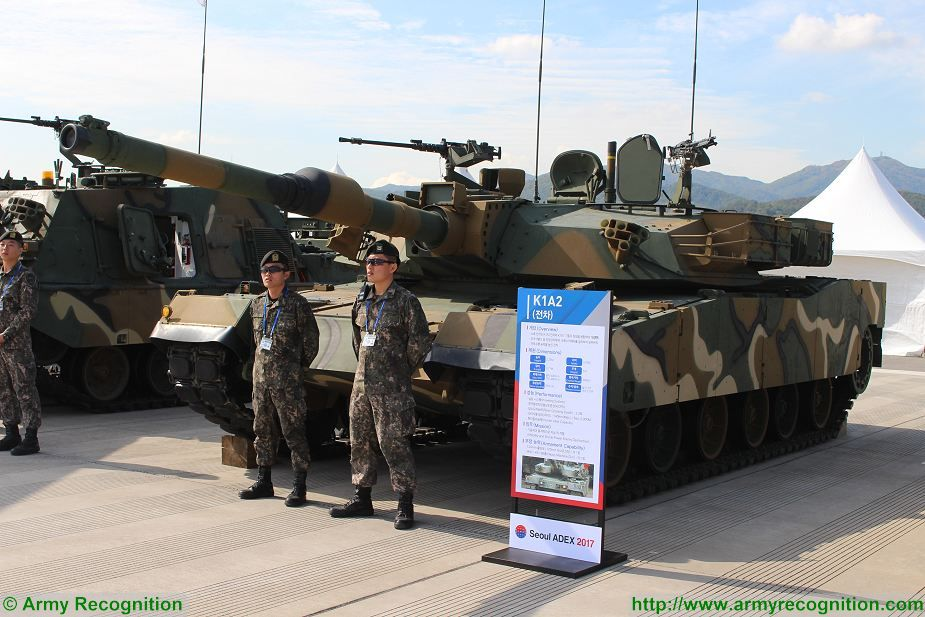 South Korea army presents K1A2 main battle tank MBT at ADEX 2017 Seoul South Korea defense exhibition 925 001
