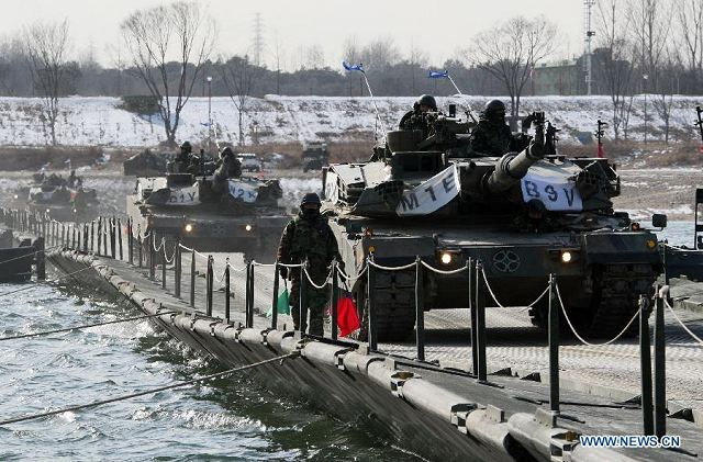 "South Korea and U.S. forces launched their annual military exercise Monday, February 27, 2012, despite the latest warning by the Democratic People's Republic of North Korea that it is "" fully ready to fight a war."""