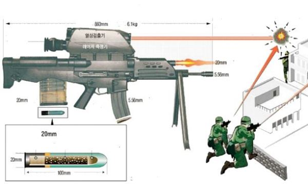 fusils d'assaut K11_advanced_individual_weapon_system_assault_rifle_s_and_t_daewoo_South_Korea_Korean_line_drawing_blueprint_001