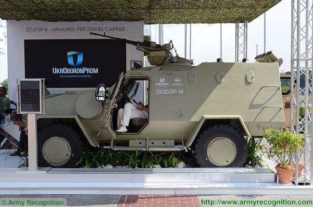 Ukroboronprom, the State Ukrainian Defense Industry showcases the Ukrainian-made Dozor-B 4x4 armoured vehicle at DSA 2016, the Defence Services Asia Exhibition, in Kuala Lumpur, Malaysia. The Dozor B is a 4x4 light armoured personnel carrier (APC) designed and developed in Ukraine by the Company Kharkiv Morozov Machine Building Design Bureau (KMDB).