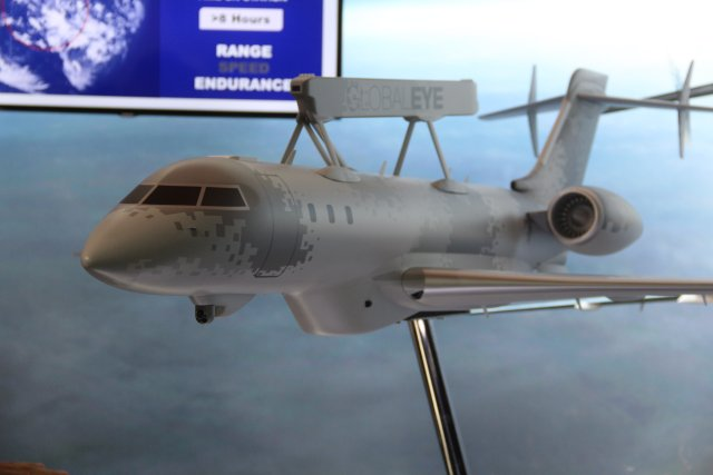 Saab is introducing its new GlobalEye multi role airborne surveillance system during DSA 2016 640 001