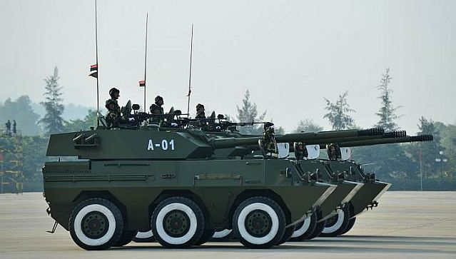 Chinese-made PTL-02 6x6 anti-tank assault gun was showed for the first time parade during Myanmar's 68th anniversary celebrations of Armed Forces Day, in Naypyidaw, Burma, Wednesday, March 27, 2013.