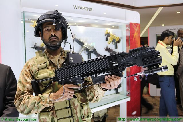 At IDEAS 2016, Pakistan Ordnance Factories (POF) presents its POF Eye a portable weapon system that can fire around corners fitted with an IR camera with monocular screen mounted on an helmet. This new system is especially designed for SWAT and special forces teams in hostile situations, particularly counter-terrorism and hostage rescue operations.