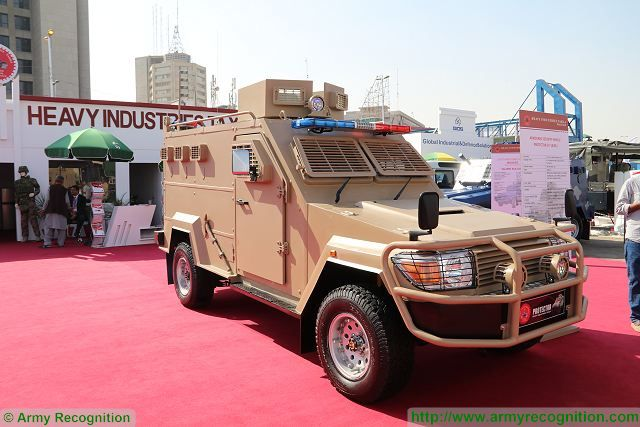 Protector 4x4 armoured security vehicle Heavy Industries Taxila IDEAS 2016 Defense Exhibition Karachi Pakistan 640 001