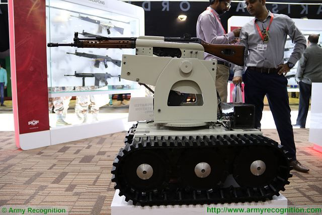 Pakistan Ordnance Factories (POF) is the largest defence industrial complex under the Pakistani Ministry of Defence Production, producing conventional arms and ammo to international standards. At IDEAS 2016, POF presents a new tracked Unmanned Ground Vehicle called ROWS for Remote Operated Weapon Station.