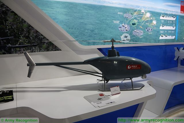 The Chinese Company Poly Defence showcases latest innovations of UAVs (Unmanned Aerial Vehicle) including its new UZ-5E unmanned helicopter at IDEAS 2016. Poly Defence is a large-scaled Chinese defense company authorized by the central Government of China for the import and export of all ranges of defense equipments for Army, Navy, Air Force, police and anti-terrorism.