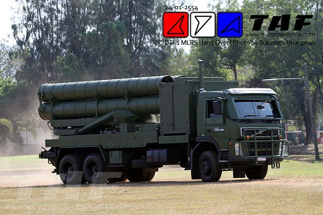 The Thai DTI-1 is a 302mm MLRS Multiple Launch Rocket System based on the Chinese-made WS-1 rocket launcher system.