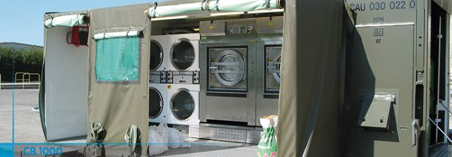 The containerized laundry unit CB 1000 is designed to support 500 to 1000 people in the field in terms of laundry. It includes two washing machines and four dryers resulting in a capacity of 66 kg of dry linen per hour.