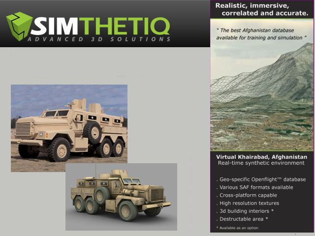 3D army military vehicle models environment program Simtthetiq application system graphics development armoured aircraft helicopter equipment defence Company Canada Canadian
