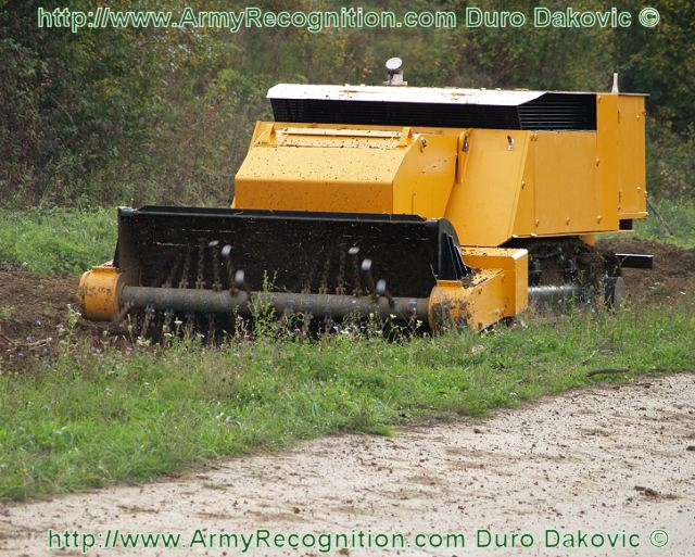 The RM03 humanitarian mine clearance machine is developed and produced by Duro Dakovic Special vehicles ltd. With total mass of 21 tons and its dimensions, mine sweeper RM03 is ranked in class of heavy mine clearance machines.