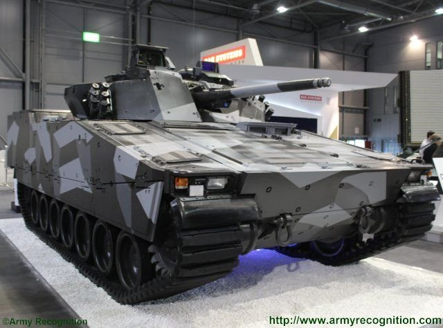 BAE Systems Hagglunds CV9030 infantry fighting vehicle under spotlights at IDET 2015 640 001