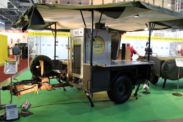 The Czech company Agados Trailers unveils its new mobile field systems at IDET 2017, in Brno, Czech Republic. Agados highlights its mobile field kitchen for full-menu catering: the PK 4 (Kaga).