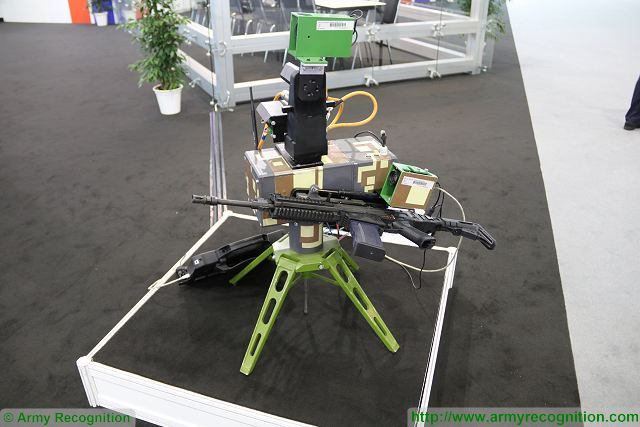 On the booth of the Czech Ministry of Defense, VOP and the Czech University of Defence presents the LAFETA II, an autonomous weapon station which can armed with a standard assault rifle. The system can be used for remotely targeting enemies in combat zones without human intervention.