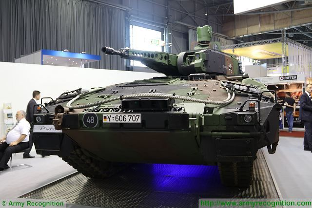 The German Company Projekt System & Management GmbH (PSM) at IDET 2017 with the Puma AIFV, the most modern tracked Armoured Infantry Fighting Vehicle, one of the candidate to replace the old Soviet-made BMP-2 tracked armoured infantry fighting vehicle in service with the Czech Army under the name of BVP-2.