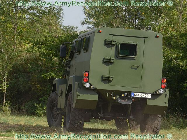 The monocoque body of KOMONDOR provides both ballistic and mine protection. Ballistic protection is to NATO STANAG 4569 Ed.1, the base steel armour and ballistic glass windows can be supplemented by appliquè metallic and/or composite armour packages which are stated to provide protection from small arms to medium calibre weapon fire (exact level undisclosed).