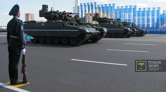 The Kazakh military will take delivery of 12 BTR-82 8x8 wheeled armored personnel carriers, three Buratino heavy flame-thrower tracked vehicles, and three BMP-T Terminator tank support fighting vehicles. The latter can carry the 9M120 Ataka-T (AT-16 Scallion) anti-armor missile.