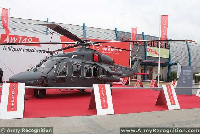 AgustaWestland AW149 multipurpose military twin engine helicopter at MSPO 2013.