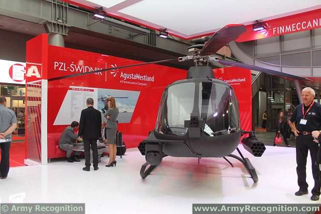 AgustaWestland SW-4 Solo RUAS/OPH (Rotorcraft Unmanned Air System/Optionally Piloted Helicopter) at MSPO 2013, the International Defense Industry Exhibition in Kielce, Poland.