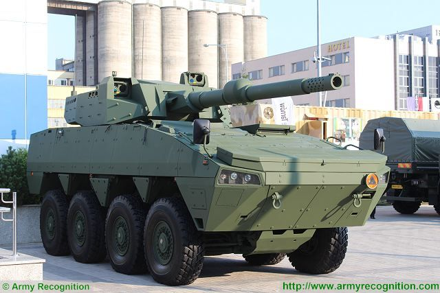 Cockerill XC-8 120mm turret CMI Defence Rosomak 8x8 armoured MSPO defense exhibition Kielce Poland 640 001