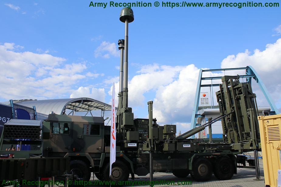 MBDA CAMM air defense missile system mounted on Polish Jelcz 8x8 truck chassis 925 001