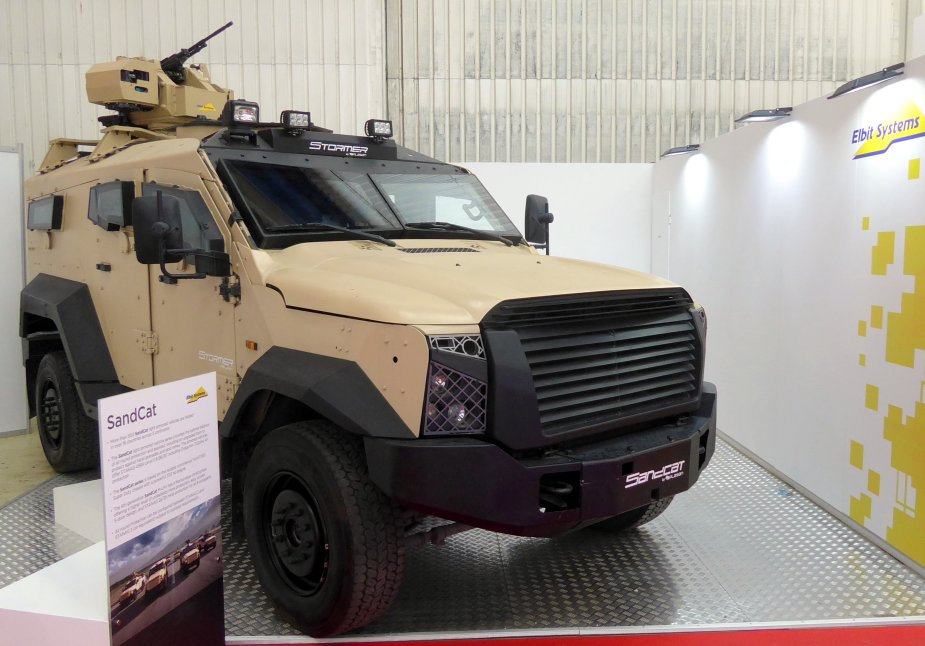 Elbit Systems SandCat Medium Light Protected Vehicle on display
