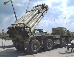 9A52-2 Smerch-M BM-30 multiple rocket launcher system technical data sheet information description pictures photos images identification intelligence Russia Russian army truck 8x8 MAZ-543M
