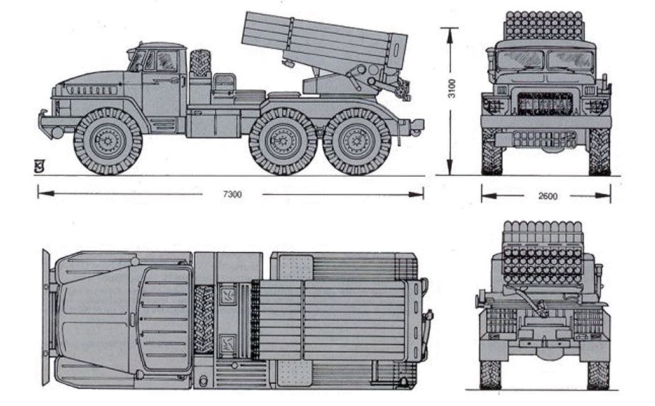 BM 21 Grad 122mm MLRS Multiple Launch Rocket System Russia line drawing blueprint 925 001