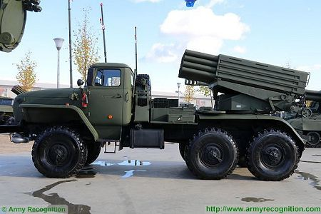 BM 21 multiple rocket launcher system Ural Truck 375D 6x6 Russia Russian army left side view 450 001
