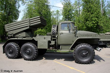 BM 21 multiple rocket launcher system Ural Truck 375D 6x6 Russia Russian army right side view 450 001